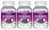 PREMIUM ACAI (3 Bottles) - High Potency, Pure Acai Berry Supplement. The All-Natural Diet, Weight Loss, Colon Cleanse, Detox, Antioxidant Superfood Product.