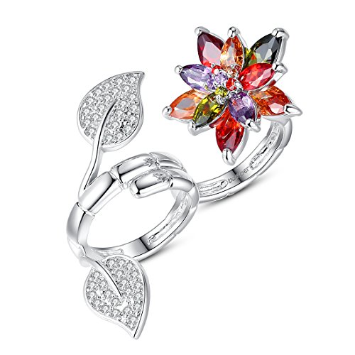 Bamoer Women Flower Finger Rings White Gold Plated Brass Cubic Zircon Wedding Jewelry