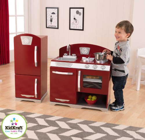 KidKraft Cranberry Retro Kitchen and Refrigerator