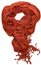 LibbySue-Lightweight Crinkle Solid Scarf in Rust Brown