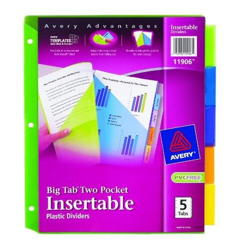 awardpedia avery big tab two pocket insertable plastic dividers 5 tab set 11906. Black Bedroom Furniture Sets. Home Design Ideas