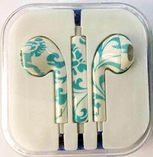 Humanhairwig One Pair Headphone Headset Earphone Volume Remote+Mic Colorful For Phone4 5 Ipad3 4 Ipod Whd689 (Fractal Blue)