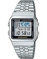 Casio - A500WA-1D - Vintage - Montre Mixte - Quartz Digital - Cadran LCD - Bracelet Acier Gris