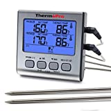 ThermoPro TP17 Dual Probe Digital Cooking Meat Thermometer Large LCD Backlight Food Grill Thermometer with Timer Mode for Smoker Kitchen Oven BBQ
