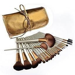 Makeup Brushes, PeleusTech 24pcs Cosmetics Brushes Set Synthetic Kabuki Professional Brush Kit Cream Contour Face Powder, Foundation, Eyeshadow, Lip Brushes with PU Leather Case-Golden