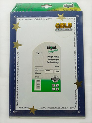 """Design-Papier, 12 Blatt DIN A4, mit goldprägung """"Feliz Navidad"""" (H/2/3)"""