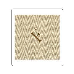 Entertaining With Caspari Jute Herringbone Paper Linen Cocktail Napkins, Monogram Initial F, Pack Of 30