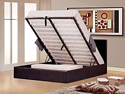 Modern Furniture Direct Ottoman Double Leather Gas Lift Storage Bed and 10-Inch Supreme Memory Foam Mattress 4 ft 6-Inch, Brown