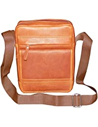 Style98 Premium Quality Leather Travel Messenger/Sling Bag For Men,Women,Boys & Girls - Tan