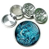 "63mm 2.5"" 4 Pc Aluminum Sifter Magnetic Herb Grinder Dragons Design-004"