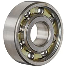 "Nice Ball Bearing 1621NS Unshielded, 52100 Bearing Quality Steel, 0.5000"" Bore x 1.3750"" OD x 0.4375"" Width"