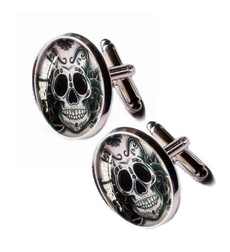 Cool Sugar Skull Cufflinks Silver Plated