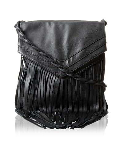 JJ Winters Women's Jane Messenger Bag with Fringe, Black