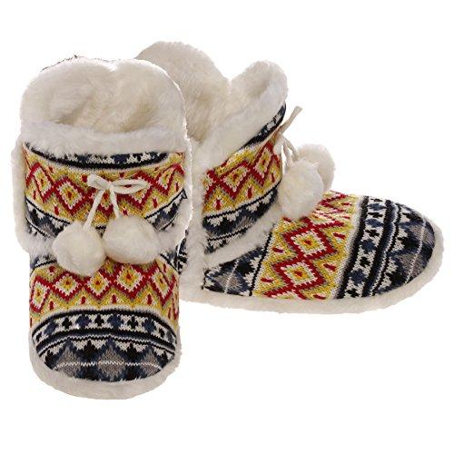 Knit Slipper Boots with Pom Pom
