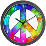 CafePress Retro Tie-Dyed Peace Sign Wall Clock - Standard Multi-color