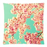 Spring Cherry Blossom Mint Flower Tree Throw Pillow Case Cushion Covers Square 18x18 Inch