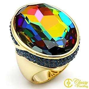 Size 6 Multicolored Crystal Women's Gold/Hematite Plated Brass Ring