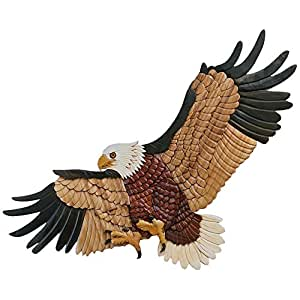 Intarsia wall hanging decor landing eagle for Eagle decorations home
