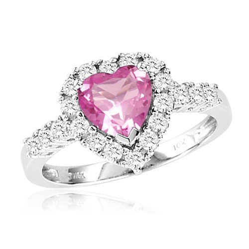 10k White Gold Heart Shaped Created Pink Sapphire and Round Created White Sap