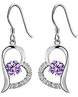 Boucles d'oreilles pendantes coeur - Femme - Argent 925/1000 - Améthyste