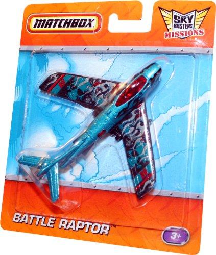 BATTLE RAPTOR * BLUE 28 * Die-Cast Airplane MATCHBOX Sky Busters Missions Series