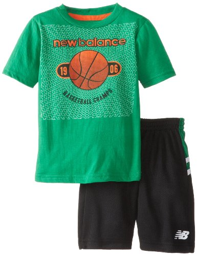 New Balance Little Boys' Graphic Cotton T-Shirt and Closed Hole Mesh Athletic Short, Celtic Green, 2T