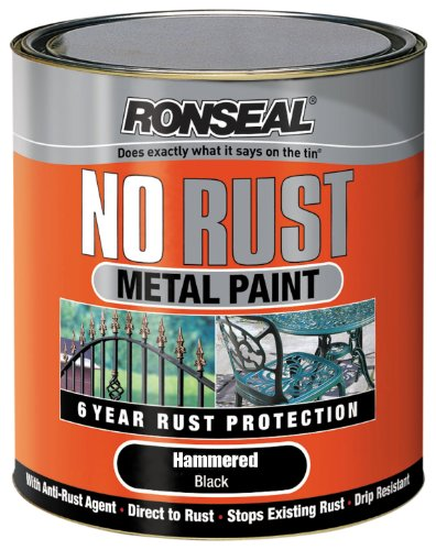 Ronseal NRHABL750 750ml No Rust Metal Paint - Hammer Black