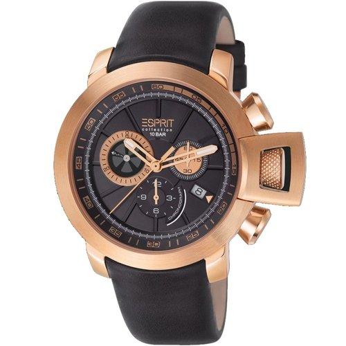 Esprit Cronógrafo Reloj de hombre, piel auténtica, diámetro 45mm Negro-el101831F04