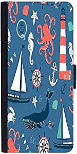 Snoogg Set Of 4 Nautical Cardsdesigner Protective Flip Case Cover For Samsung...