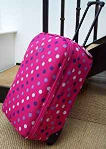 Travel Luggage suitcase On Wheels HOT PINK retro poka dot Medium EXPANDING trolly Light Weight