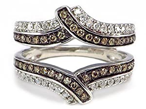 Chocolate Brown & White Diamond Ring Wrap Guard Enhancer Insert 14k White Gold