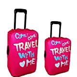 Hot Pink Girl's 2 PCS Expandable Luggage Hard Sided Suitcase Luggage Covers ,M & L Size