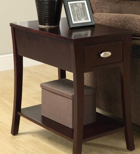 Corin espresso finish wood chair side end table with drawer and curved legs (Side Table Espresso Curved Legs compare prices)