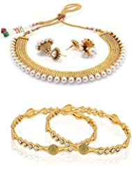 Zeneme Combo Traditional Jhumki Pearl Necklace Set And Temple Coin Bangle Set For Women