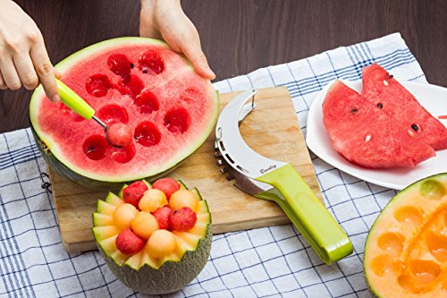 Watermelon Slicer Server Slice Right with Melon Baller and Fruit Carving Knife (2 in 1) | Stainless Steel Easy to