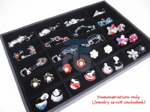 20 Compartment Black Velvet Liner Protable Jewellery Utility Display Case / Tray