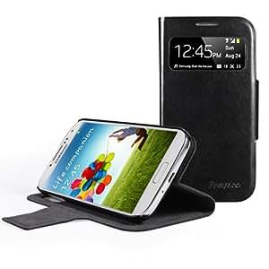 EasyAcc® Etuis Ultra slim en Cuir PU pour Samsung Galaxy S4 avec la Fenêtre Découpée dans le Rabat et Fonction Movie Stand (Noir)
