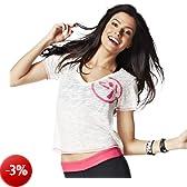 Zumba Fitness, Maglietta Donna Many Moons A-Glow Maglietta con scollo a V, Bianco (White), M