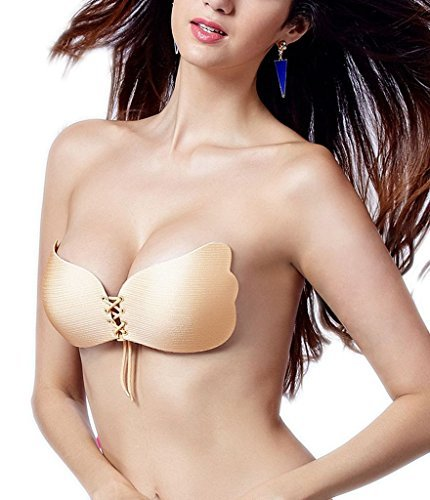 LISWIC Women's Ultralite Backless Strapless Silicone Push-Up Deep V-shaped Bra(N-A/B)