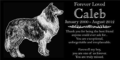 "Personalized Rough Collie Pet Memorial 12""x6"" Engraved Black Granite Grave Marker Headstone Plaque CAL1"