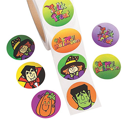 "Jumbo Roll of Halloween Stickers (500 Pack) 1 1/2"". Paper."