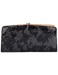Venus Black And Grey Vinyl Casual Clutches For Women