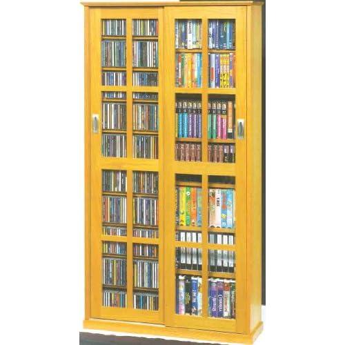 Leslie Dame MS-700 Mission Multimedia DVD/CD Storage Cabinet with Sliding Glass Doors, Oak