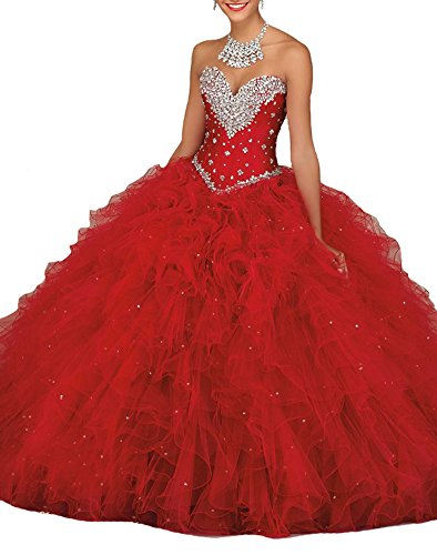 0c2f70c0a6 Jurong Women s Sweetheart Sweet 16 Ball Gowns Wedding Quinceanera Dresses 4  US Red
