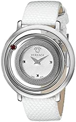 Versace Women's VFH130014 Venus Stainless Steel Watch with White Leather Band