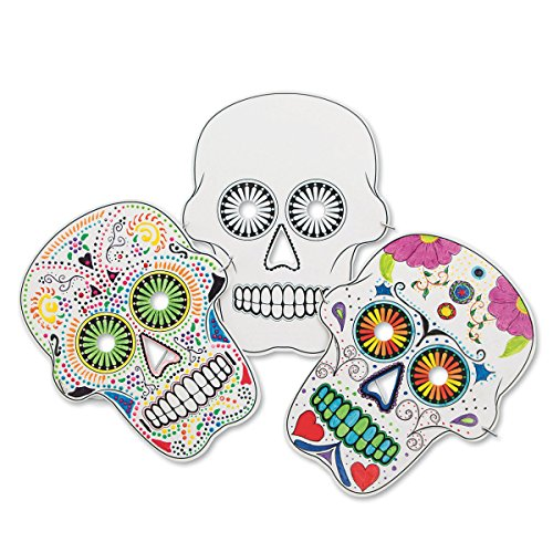 Color-Me Sugar Skull Masks (pack of 24) (Paper Skull Mask compare prices)