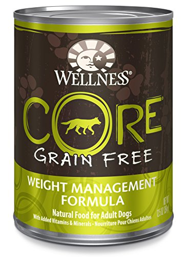 Wellness CORE Grain Free Weight Management Natural Wet Canned Dog Food, 12.5-Ounce Can (Pack of 12)