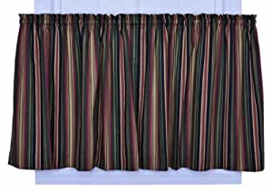 Ellis Curtain Montego Stripe 82-Inch by 36-Inch Tailored Tier Curtains, Black