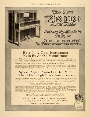 1912 Ad Apollo Vintage Electric Piano Player Instrument - Original Print Ad