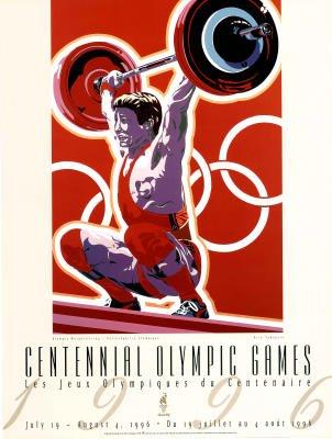 Hiro Yamagata Olympic Weightlifting 1996 Atlanta Official Sports Poster Print